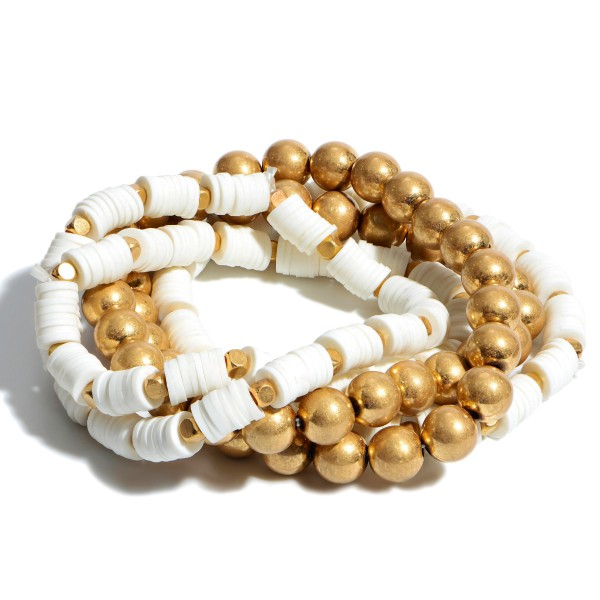 """5 PC CCB Rubber Heishi Beaded Stackable Stretch Bracelet Set in Gold.  - 5 PC Per Set - Approximately 3"""" in Diameter"""