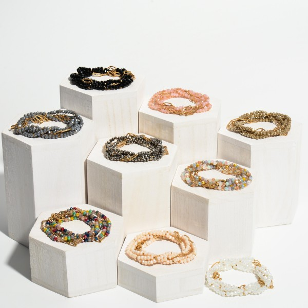 """5 PC Beaded Chain Link Stretch Bracelet Set.  - 5 PC Per Set - Approximately 3"""" in Diameter"""