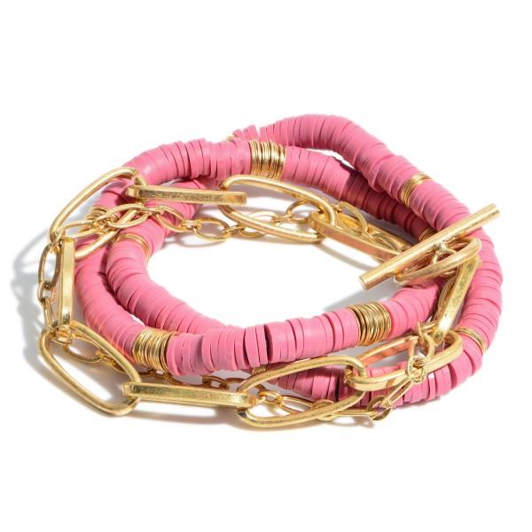 "3 PC Rubber Beaded Chain Link Stretch Bracelet Set.  - 3 PC Per Set - 1 PC Chain Link Toggle Bar  - 2 PC Stretch Bracelet  - Approximately 3"" in Diameter"