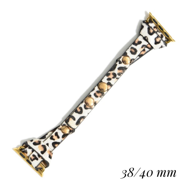 """Interchangeable Faux Leather Leopard Print Smart Watch Band for Smart Watches Only.  - Fits 38-40 Watch Face - Approximately 3"""" in Diameter - Adjustable Snap Closure"""