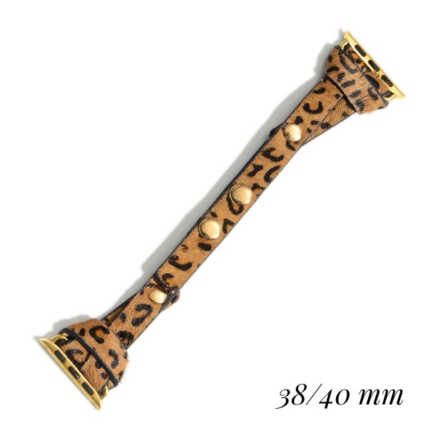 "Interchangeable Faux Leather Leopard Print Smart Watch Band for Smart Watches Only.  - Fits 38-40 Watch Face - Approximately 3"" in Diameter - Adjustable Snap Closure"