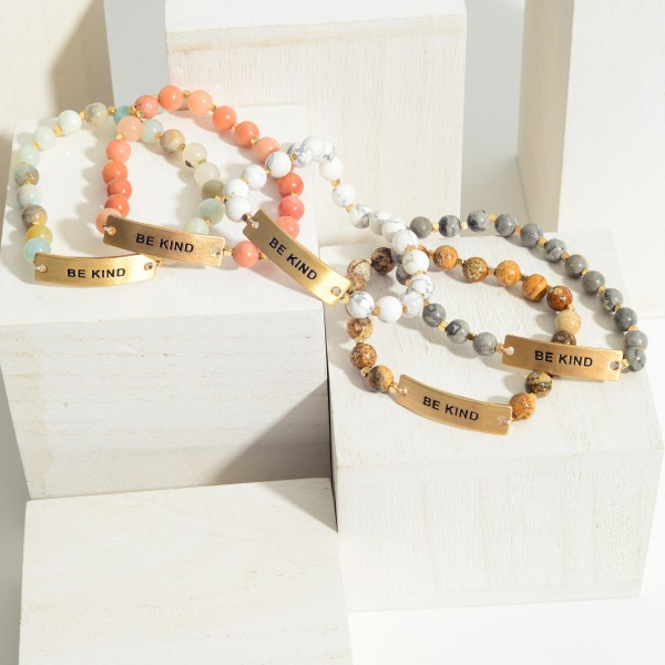 """Natural Stone Bracelet Featuring Gold Accent that Says """" Be Kind"""".   - Approximately 3"""" in Diameter"""
