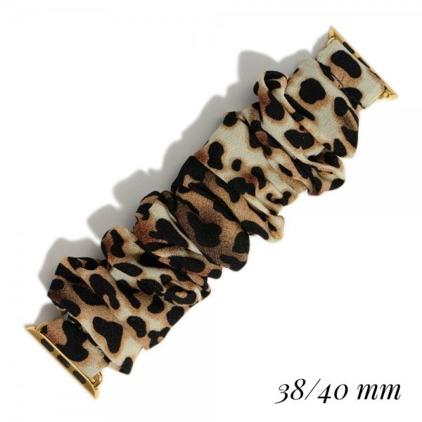 Animal Print Scrunchie Style Smartwatch Band. (For Smartwatches Only)  - Smartwatch Band Fits 38-40mm Smartwatches - Smartwatch Not Included