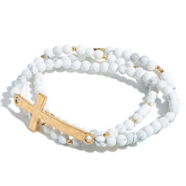 "3 PC Natural Stone Cross Stretch Bracelet Set in Gold.  - Focal 2""  - Approximately 3"" in Diameter"