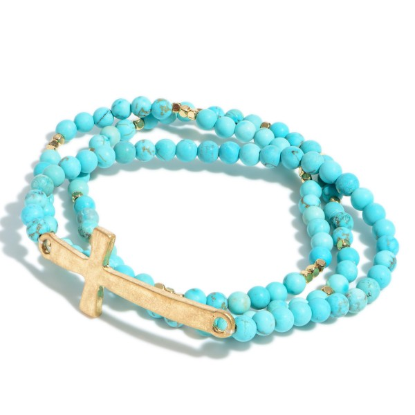 """3 PC Natural Stone Cross Stretch Bracelet Set in Gold.  - Focal 2""""  - Approximately 3"""" in Diameter"""