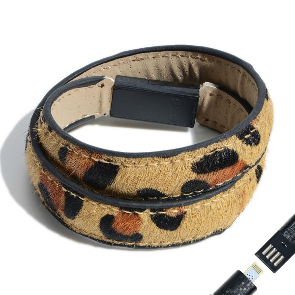 "Faux Leather Cheetah Print USB Lightning Charging Cable Wrap Bracelet.  - Lightning Charging Cable - Clasp - Faux Leather Material - Approximately 3"" in Diameter"