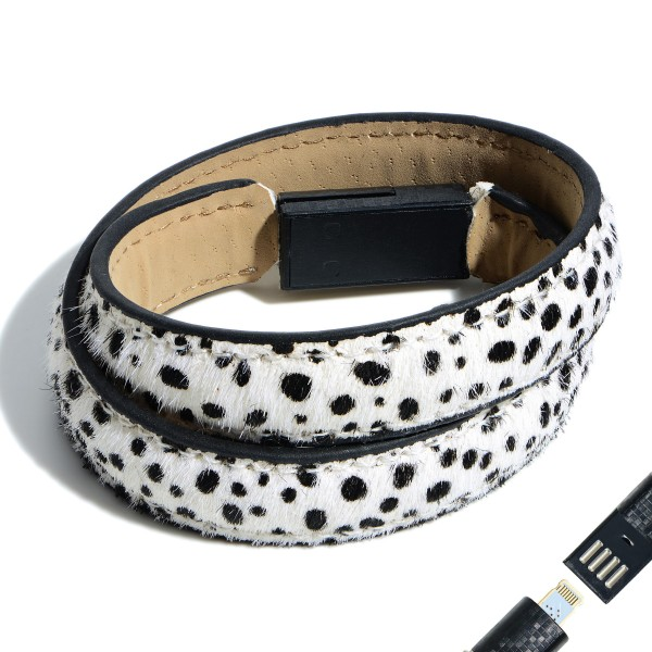 "Faux Leather Dalmatian Print USB Lightning Charging Cable Wrap Bracelet.  - Lightning Charging Cable - Clasp - Faux Leather Material - Approximately 3"" in Diameter"