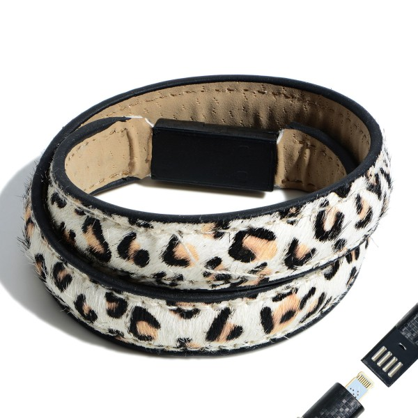"Faux Leather Leopard Print USB Lightning Charging Cable Wrap Bracelet.  - Lightning Charging Cable - Clasp - Faux Leather Material - Approximately 3"" in Diameter"