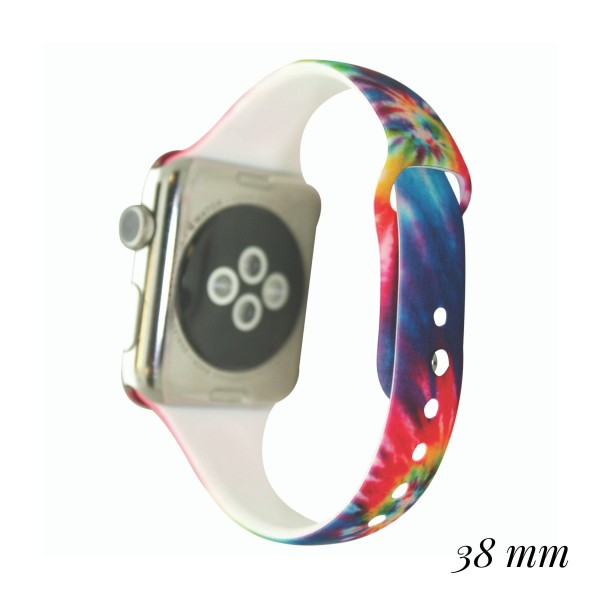 """Interchangeable Silicone Rainbow Tie Dye Smart Watch Band for Smart Watches Only.  - Fits 38mm Watch Face - Band Width: .5"""" - Approximately 3"""" in Diameter - Adjustable Band"""