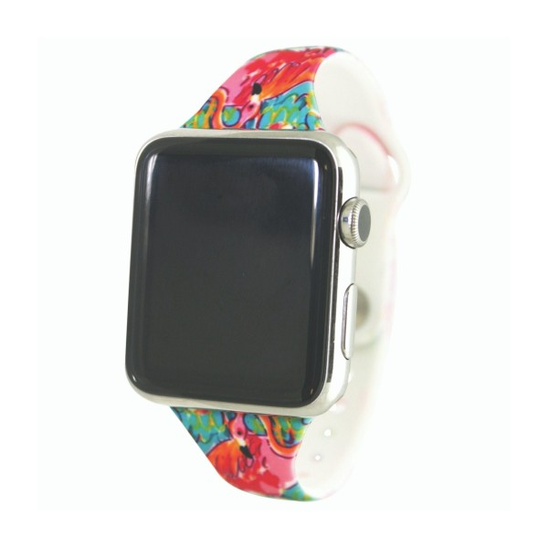 """Interchangeable Silicone Rainbow Tie Dye Smart Watch Band for Smart Watches Only.  - Fits 42mm Watch Face - Band Width: .5"""" - Approximately 3"""" in Diameter - Adjustable Band"""