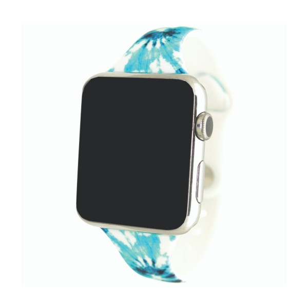 """Interchangeable Silicone Aqua Tie Dye Smart Watch Band for Smart Watches Only.  - Fits 38mm Watch Face - Band Width: .5"""" - Approximately 3"""" in Diameter - Adjustable Band"""