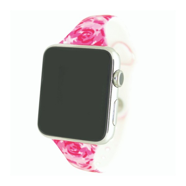 """Interchangeable Silicone Rose Print Smart Watch Band for Smart Watches Only.  - Fits 42mm Watch Face - Band Width: .5"""" - Approximately 3"""" in Diameter - Adjustable Band"""