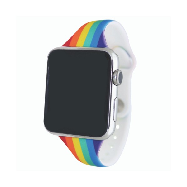 """Interchangeable Silicone Rainbow Smart Watch Band for Smart Watches Only.  - Fits 38mm Watch Face - Band Width: .5"""" - Approximately 3"""" in Diameter - Adjustable Band"""