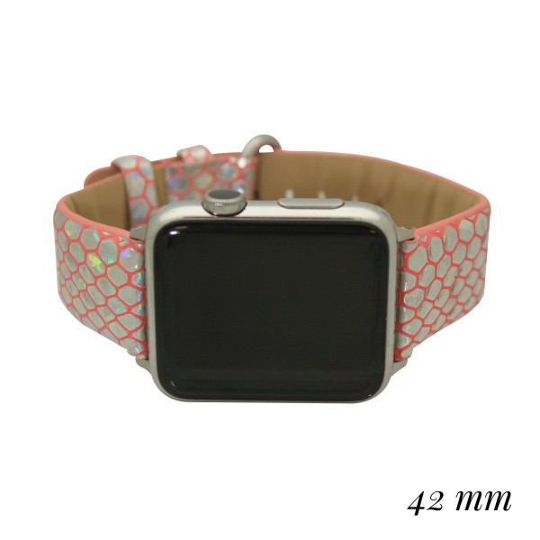 """Interchangeable Metallic Faux Leather Animal Print Smart Watch Band for Smart Watches Only.  - Fits 42mm Watch Face - Band Width approximately 1""""  - Approximately 3"""" in Diameter - Adjustable Band"""