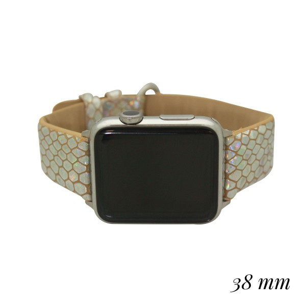 """Interchangeable Metallic Faux Leather Animal Print Smart Watch Band for Smart Watches Only.  - Fits 38mm Watch Face - Band Width approximately 1"""" - Approximately 3"""" in Diameter - Adjustable Band"""