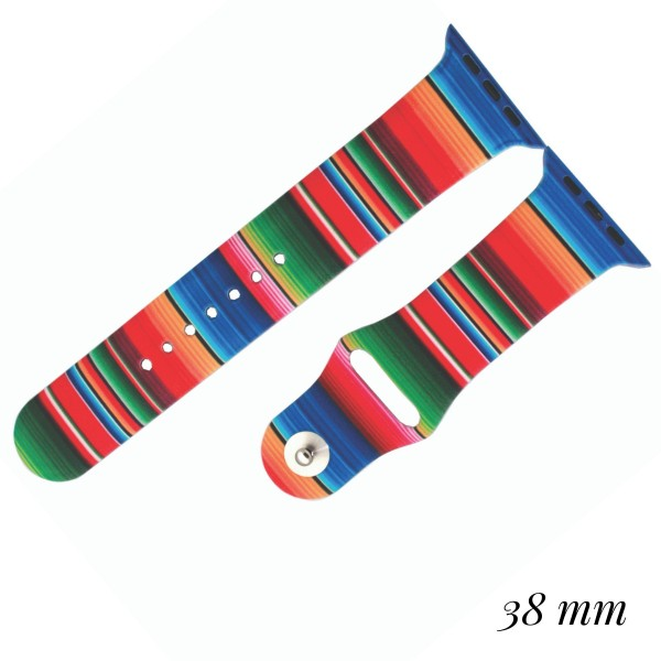 """Interchangeable Silicone Candy Stripe Smart Watch Band for Smart Watches Only.  - Fits 38mm Watch Face - Band Width approximately 1""""  - Approximately 3"""" in Diameter - Adjustable Band"""