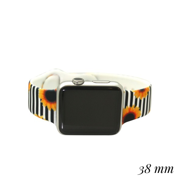 Interchangeable Silicone Sunflower Stripe Smart WATCH Band for Smart WATCHes Only. (429558)