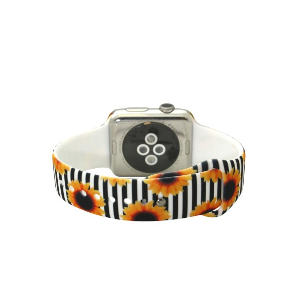 """Interchangeable Silicone Sunflower Stripe Smart Watch Band for Smart Watches Only.  - Fits 38mm Watch Face - Band Width approximately 1""""  - Approximately 3"""" in Diameter - Adjustable Band"""