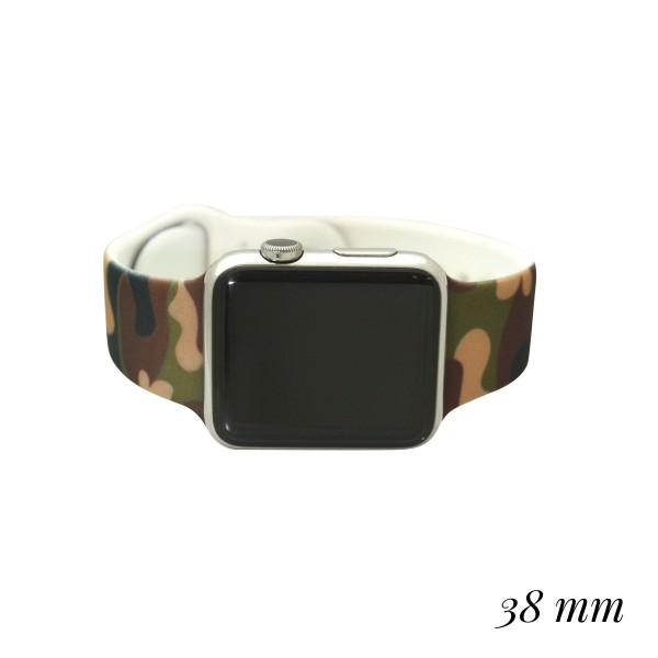 """Interchangeable Silicone Camouflage Smart Watch Band for Smart Watches Only.  - Fits 38mm Watch Face - Band Width approximately 1""""  - Approximately 3"""" in Diameter - Adjustable Band"""