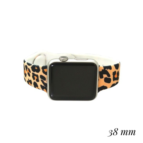 "Interchangeable Silicone Tan Leopard Print Smart Watch Band for Smart Watches Only.  - Fits 38mm Watch Face - Band Width approximately 1""  - Approximately 3"" in Diameter - Adjustable Band"