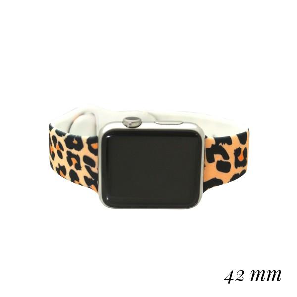 Wholesale interchangeable Silicone Tan Leopard Print Smart Watch Band Smart Watc
