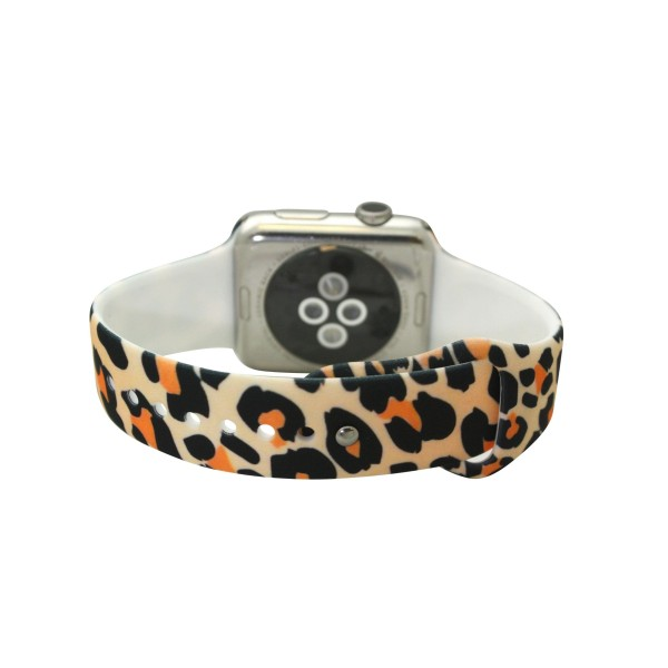 "Interchangeable Silicone Tan Leopard Print Smart Watch Band for Smart Watches Only.  - Fits 42mm Watch Face - Band Width approximately 1"" - Approximately 3"" in Diameter - Adjustable Band"