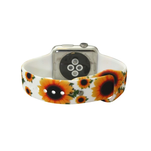 """Interchangeable Silicone White Sunflower Smart Watch Band for Smart Watches Only.  - Fits 38mm Watch Face - Band Width approximately 1""""  - Approximately 3"""" in Diameter - Adjustable Band"""