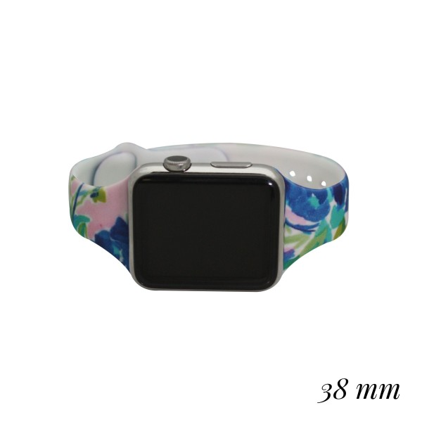 """Interchangeable Silicone Floral Print Smart Watch Band for Smart Watches Only.  - Fits 38mm Watch Band - Band Width: .5""""  - Approximately 3"""" in Diameter - Adjustable Band"""