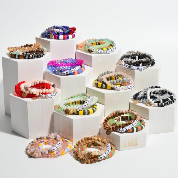 "4 PC Grateful Semi Precious Beaded Color Block Stretch Bracelet Set.  - 4 PC Per Set - Approximately 3"" in Diameter"