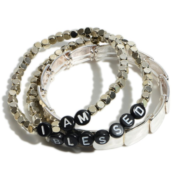 """3 PC I am Blessed Metal Beaded Stretch Bracelet Set.  - 3 PC Per Set - Approximately 3"""" in Diameter"""