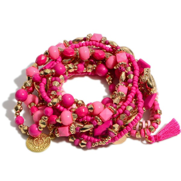 """10 PC Multi Pink Beaded Puka Shell Stackable Stretch Bracelet Set.  - 10 PC Per Set - Approximately 3"""" in Diameter"""
