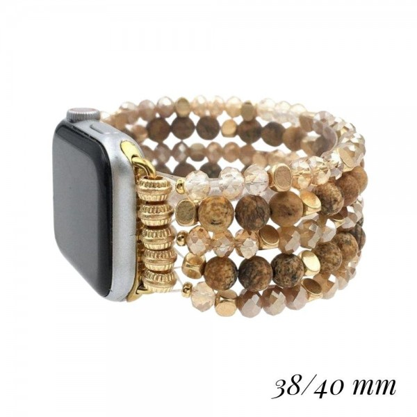 """Interchangeable Semi Precious Beaded Stretch Bracelet for Smart Watches Only.  - Fits 38-40mm Watch Face - Approximately 3"""" in Diameter"""