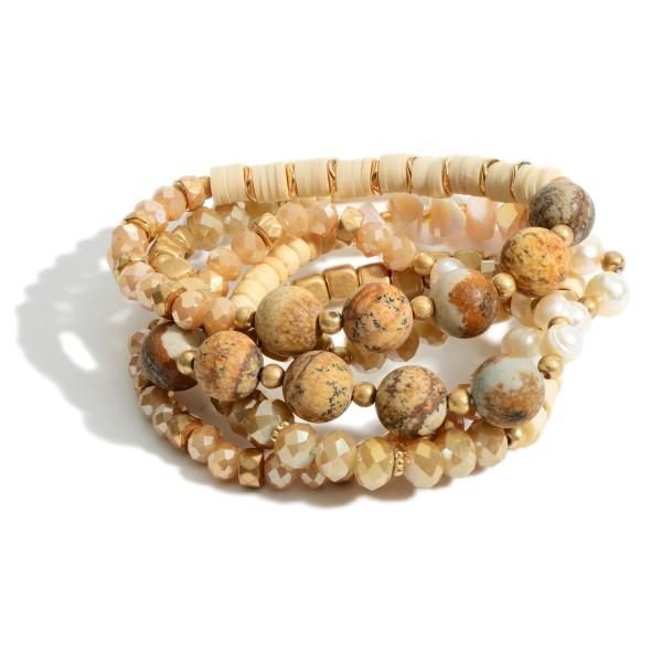 """Set of Five Beaded Bracelets Featuring Natural Stone Accents and Heishi Bead Details.   - Approximately 3"""" in Diameter"""