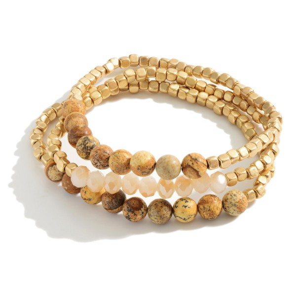 """Set of Three Matte Gold Beaded Bracelets Featuring Natural Stone Accents.   - Approximately 3"""" in Diameter"""