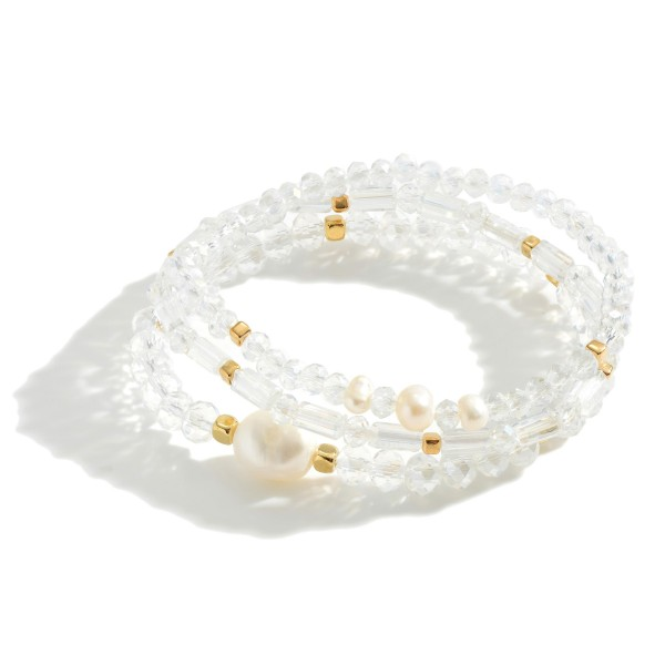 "Set of Three Beaded Bracelets Featuring Freshwater Pearl Detail.   - Approximately 2.5"" in Diameter"
