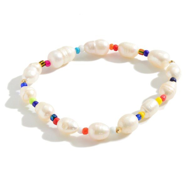 "Freshwater Pearl Stretch Bracelet Featuring Multicolored Beaded Accents.   - Approximately 3"" in Diameter"