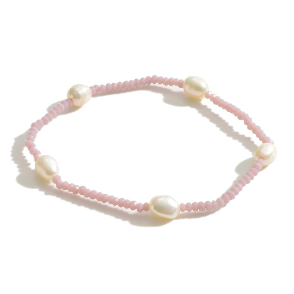 "Beaded Bracelet Featuring Freshwater Pearl Accents.   - Approximately 3"" in Diameter"