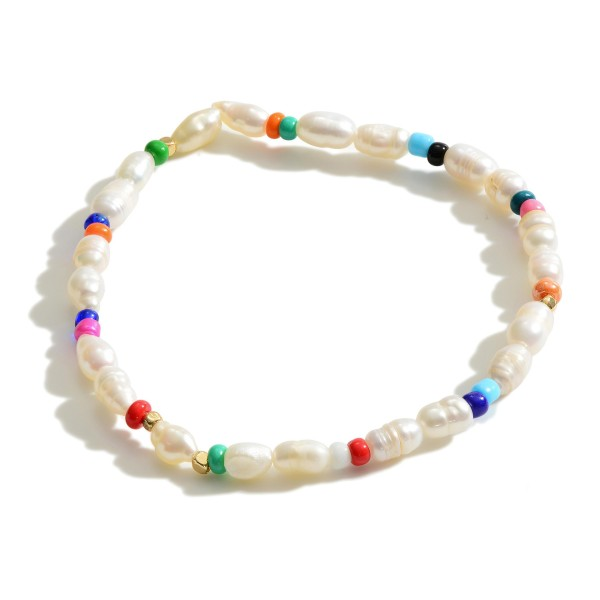"Stretch Bracelet Featuring Freshwater Pearls and Multicolor Beaded Accents.   - Approximately 3"" in Diameter"
