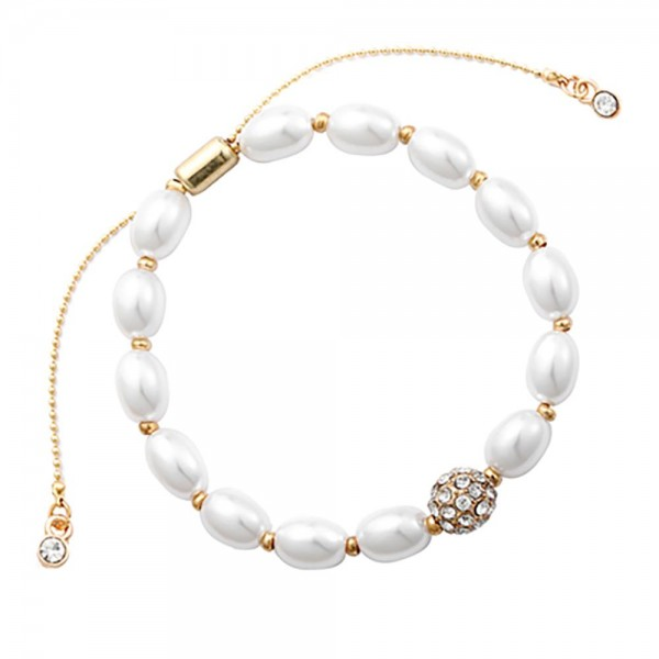 """Faux Pearl Bolo Bracelet Featuring Rhinestone Accents.   - Approximately 2.5"""" in Diameter"""