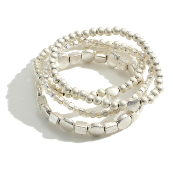 Wholesale set Three Beaded Metal Bracelets Heart Details Faux Pearl Accents Diam