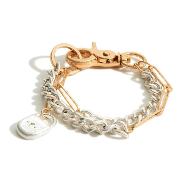 "Layered Metal Chain Bracelet Featuring Lobster Clasp Closure and Locket Pendant.   - Approximately 3"" in Diameter"