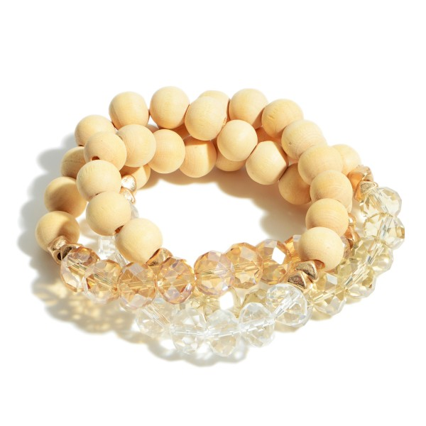 """Set of Three Beaded Bracelets Featuring Iridescent Accents and Gold Details.   - Approximately 3"""" in Diameter"""
