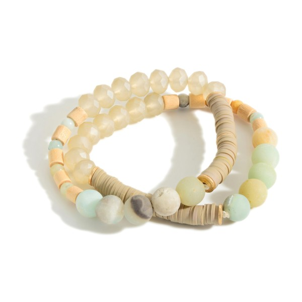 "Set of Two Beaded Bracelets Featuring Wood and Natural Stone Accents.   - Approximately 3"" in Diameter"