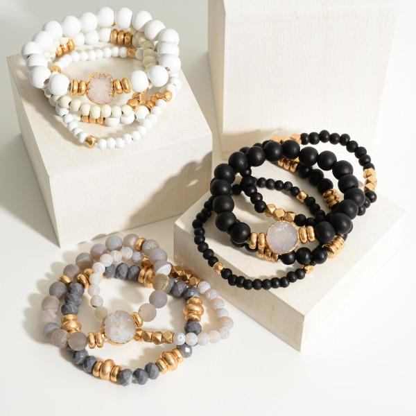 "Set of Four Wooden Bead Bracelets Featuring Druzy Accent and Gold Details.   - Approximately 3"" in Diameter"