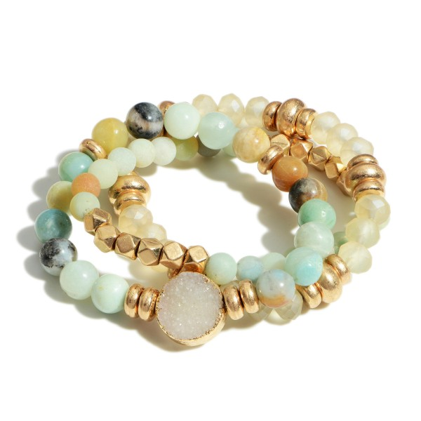 "Set of Three Natural Stone Beaded Bracelets Featuring Druzy Accent and Gold Details.   - Approximately 2.5"" Diameter"