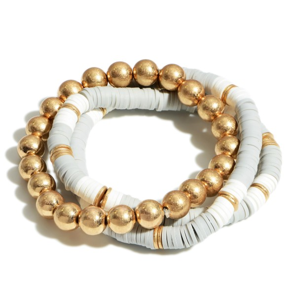"Set of Three Beaded Stretch Bracelets Featuring Heishi Bead Accents and Gold Details.   - Approximately 2.5"" in Diameter"