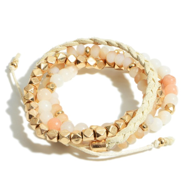 """Set of Four Beaded Bracelets Featuring Natural Stone Accents and Leather Details.   - Approximately 3"""" in Diameter"""