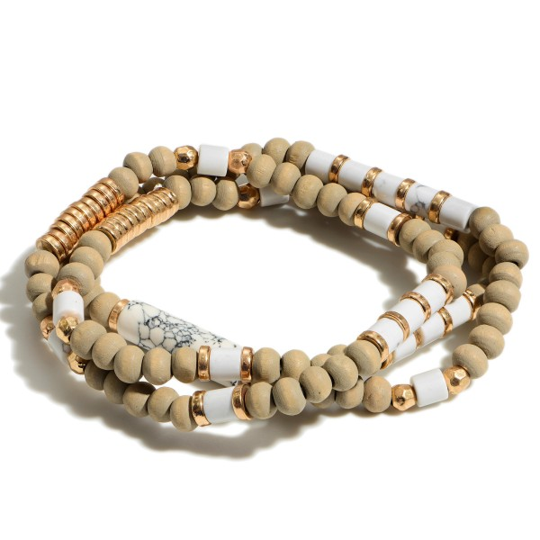 "Set of Three Beaded Bracelets Featuring Wood and Natural Stone Accents.   - Approximately 2.5"" in Diameter"