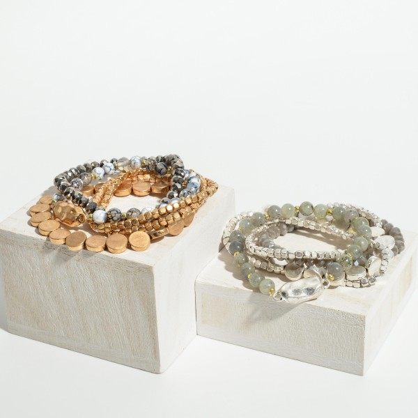 """Set of Five Worn Metal Beaded Bracelets Featuring Natural Stone Accents.   - Approximately 3"""" in Diameter"""
