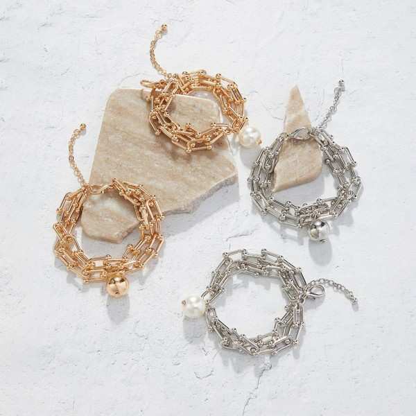 """Chain Link Bracelet Featuring Faux Pearl Accent.   - Approximately 2.5"""" in Diameter"""